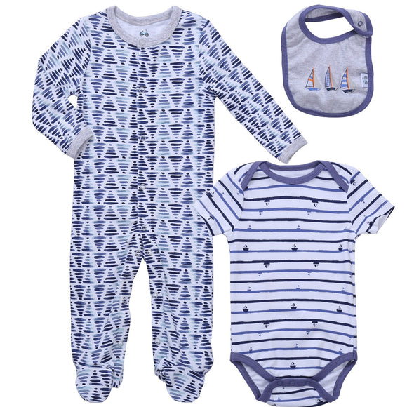 Layette Set Footed Pajamas Knotted Side Snap one piece Mamelucos Baby Boy Jammies