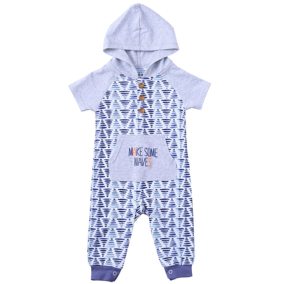 Asher & Olivia Baby Romper Hooded Baby Boy Jumpsuit Short-Sleeve Coverall Hoodie