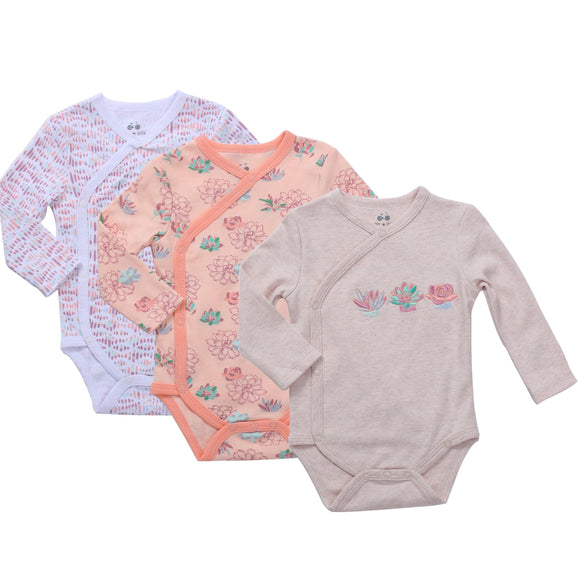 Asher & Olivia Baby Kimono Side Snap one piece- SUMMER VIBES 2 Pc Girl Long Sleeve Bodysuit Set