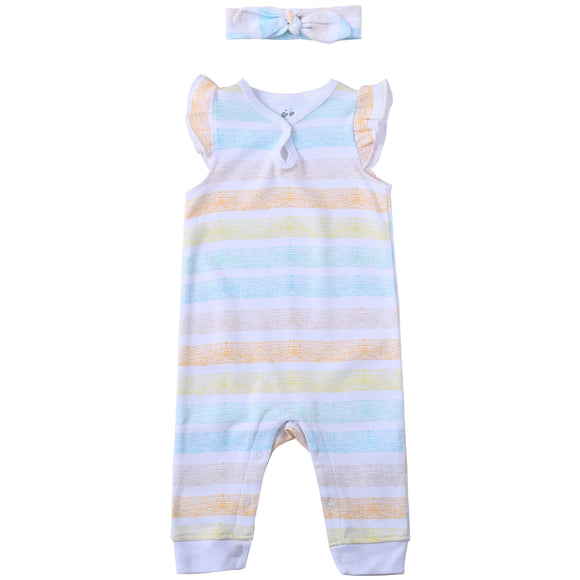 Asher & Olivia Baby Girl Romper Jump Suit Short Sleeve Jumper Coverall Jumpsuit