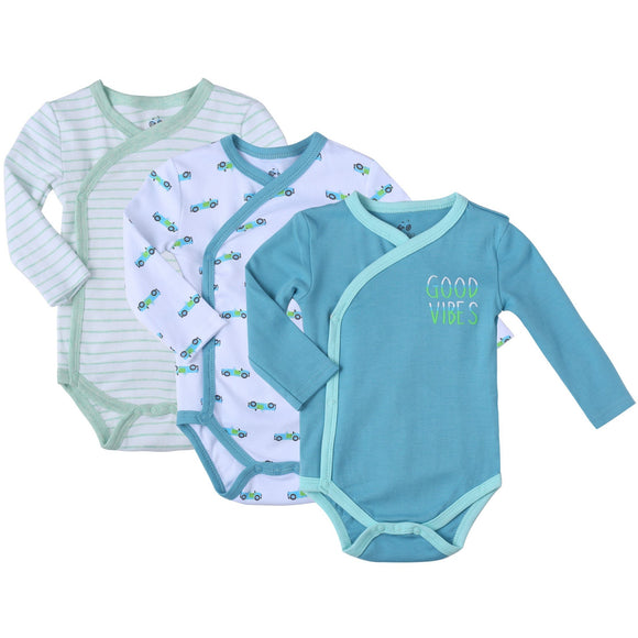 Asher & Olivia Baby Kimono Side Snap one piece 3 Pc Boy Long Sleeve Bodysuit Set