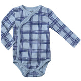 Clothes Baby Kimono Side Snap one piece Boy Long Sleeve Bodysuit Blue