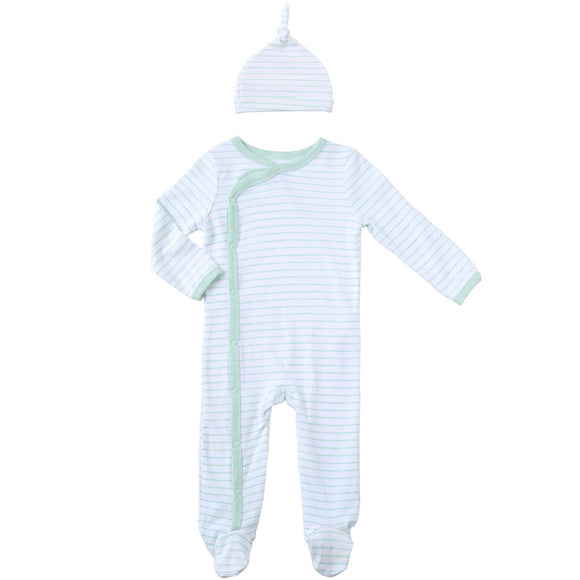 Asher & Olivia Footed Pajamas for Boys with Baby Hat Side Snap one piece Footies
