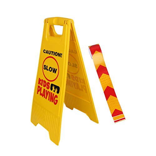 1 Pack Kid Playing Caution Sign –  Bundle with Reflective Tape