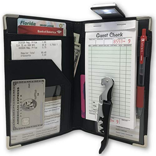 Waitress Server Book Wallet Organizer – Bundled with Wine Opener & Reading Flashlight – Black 10 Pocket Waiter Pad for Restaurant Waitstaff – Fits Apron and Holds Receipts Money Guest Check Pen Cards