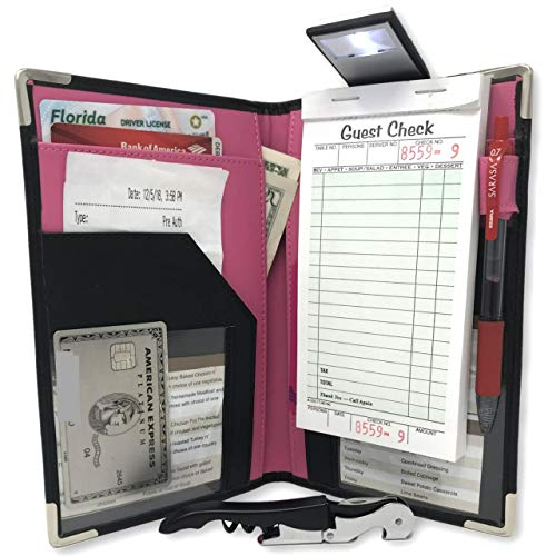 Waitress Server Book Wallet Organizer – Bundled with Wine Opener & Reading Flashlight – Pink 10 Pocket Waiter Pad for Restaurant Waitstaff – Fits Apron and Holds Receipts Money Guest Check Pen Cards