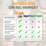 Coin Roll Wrappers 1000-Count Assorted Coin Papers Bundle of 250 Each Quarters Nickels Dimes Pennies