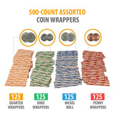 Coin Roll Wrappers -440 Pack Assorted Flat Coin Papers Bundle of Quarters Nickels Dimes Pennies