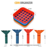 Coin Counters Tubes & Coin Sorters Tray – 4 Color-Coded Coin Sorting Tray and Coin Counting Tubes - Bundle with 100-Count Assorted Coin Roll Wrappers for US Coins (Coin Counter & Coin Sorter)