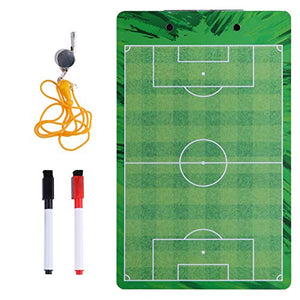 Soccer Coaches Dry Erase Clipboard – Double Sided Lineup Board Bundled with Whistle and Dry Erase Markers