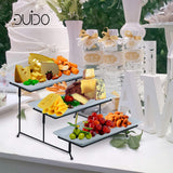 3 Tier Serving Tray Stand – Rectangular Dessert Party Platter with Bamboo Picks, Extra Sauce Dish and Serving Tongs – Three Tiered Cupcake and Food Holder Display for Weddings, Tea Parties, Birthdays