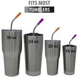 Reusable Straws Stainless Steel Straws -(10 Pack) with Silicone Tips, Cleaning Brushes and Storage Pouch - 10.5, 8.5 inch Reuse Straight and Curved Drinking Straws Metal Straw Fits Yeti, Tervis, Rtic