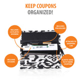Modern Grocery Coupon Organizer - Wallet & Extreme Coupon Holder. Set Includes 24 Plastic Coupon Cards Dividers and Stickers. Material Canvas.