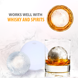 Round Silicone Ice Ball Mold - (5 Pack) 2.5 Inch Ice Spheres. Slow Melting Round Ice Cube Maker for Whiskey, Bourbon and Cocktails