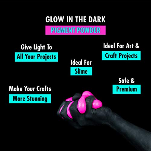 Glow in the Dark Powder –(Pack of 24) Luminous Pigment Powder Fluorescent  UV Neon Color Changing luminescent Phosphorescent Thermochromic Dye Dust