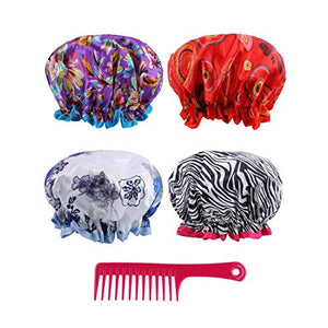 Reusable Shower Cap Women Hair - (Pack of 4) Lined Plastic Showercap Waterproof Bath Hat Hair Cover Caps Bundled with 1 Detangling Comb Perfect for all Hair Lengths and Thicknesses