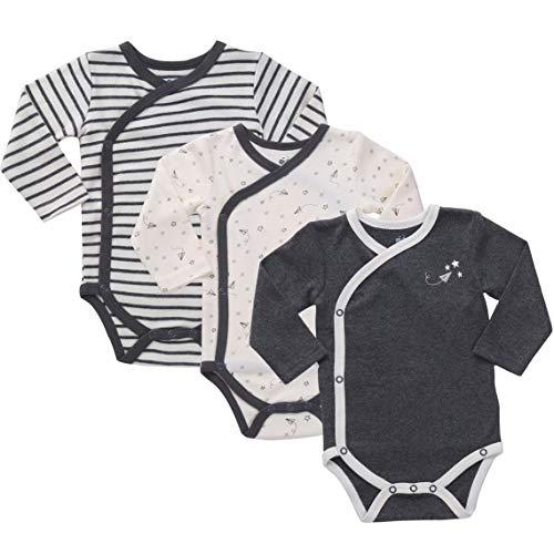 Asher & Olivia Unisex Baby Kimono Side Snap One Piece 2Pc Long Sleeve Bodysuit Set