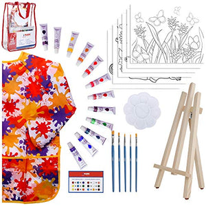 Paint Easel Kids Art Set– 28-Piece Acrylic Painting Supplies Kit with Storage Bag, 12 Non Toxic Washable Paints, 1 Scratch Free Easel, 6 Pre-Stenciled Canvases 8 x 10 inches, 5 Brushes, 10 Well Palette, Smock and Color Mixing Chart