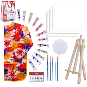 Paint Easel Kids Art Set– 28-Piece Acrylic Painting Supplies Kit with Storage Bag, 12 Non Toxic Washable Paints, 1 Scratch Free Wood Easel, 6 Blank Canvases 8 x 10 inches, 5 Brushes, 10 Well Palette, Smock and Color Mixing Chart