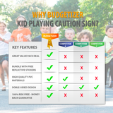 10 Pack Kid Playing Caution Sign - Children Safety Slow Road Yard Sign - Double Sided Sign Bundled with Reflective Tape
