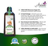 Avíano Botanicals Argan Oil - 100% Pure & USDA Certified ORGANIC Moroccan Virgin Argan Oil - Large 100ml Bottle