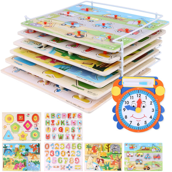 Wooden Peg Puzzle Set Toddlers – (Pack of 6) Bundled with Storage Holder Rack and Learning Clock – Kids Educational Preschool Puzzles for Children