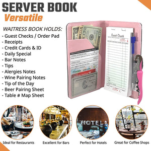 Server Book Waitress Wallet Organizer – PINK Bundle with WINE OPENER – BLACK 7 Pocket Waiter Pad for Restaurant Waitstaff – Fits Apron and Holds Receipts Money Guest Check Pen Credit Cards Daily Specials and Much More