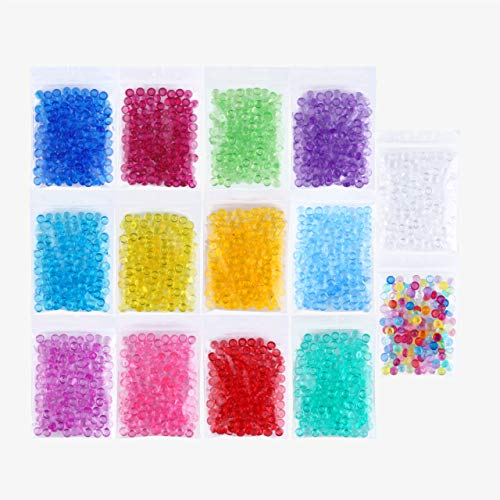 Fishbowl Beads Slime Fish Bowl - 14 Pack Vase Filler Beads 0.28 inch Plastic Slushy Fish Balls Crunchy Slime Slushee Fishballs Kit for DIY Homemade Arts Crafts Decoration Slushie Clear, Blue, Colored
