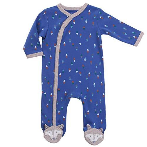 Asher & Olivia Footed Pajamas for Boys Baby Sleepers Side Snap one piece Footies - BLUE