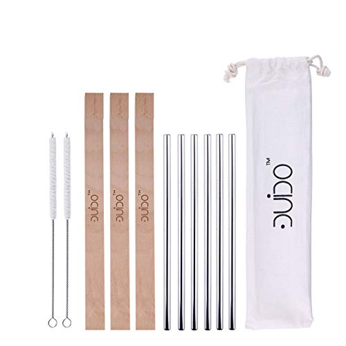 Reusable Portable Straws with Case – (6 Pack) 8.5 Inch Travel Eco-Friendly Stainless Steel Straws with Wood Case – Personal Straw Kit fits Yeti, Tervis, Rtic, Tumblers of 16 Oz, and 20 oz Wooden Case