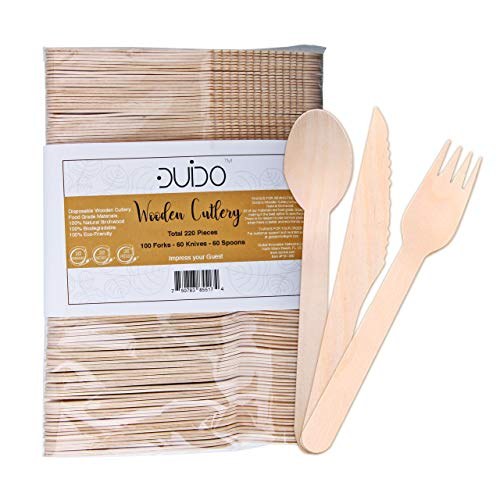 Disposable Wooden Cutlery Utensils Set – (Pack of 220) 60 Forks 60 Knives 60 Spoons, 5.5-inch Eco-Friendly Compostable Silverware Kit Biodegradable Party Supplies Events Better Than Bamboo Palm Leaf