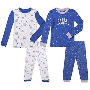 Asher & Olivia Boys Pajamas 4 Pc Cotton Pjs Set for Baby Toddler Little Kids