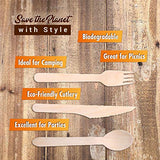 Disposable Wooden Cutlery Utensils Set – (Pack of 330) 110 Forks 110 Knives 110 Spoons 5.5-inch Eco-Friendly Compostable Silverware Kit Biodegradable Party Supplies Events Better Than Bamboo Palm Leaf