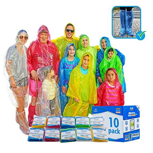 Emergency Family Rain Ponchos Extra Thick – 10 Pack Disposable Plastic Raincoat Bundled with Shoe Covers for Adults and Kids – Assorted Colors and 100% Waterproof Rain Gear