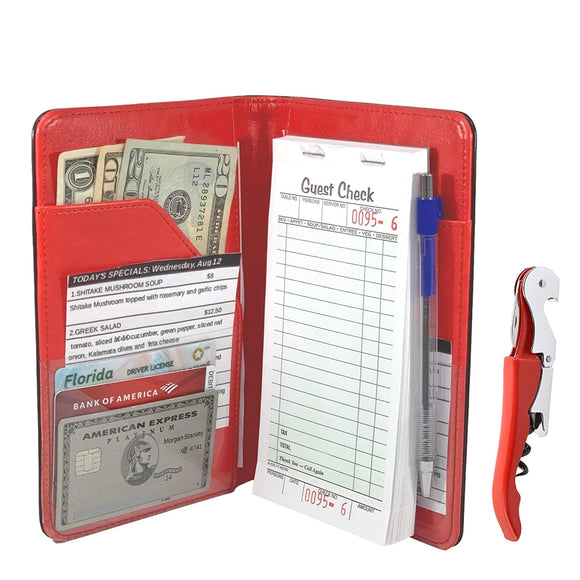 Server Book Waitress Wallet Organizer - RED Bundle with WINE OPENER - BLACK 7 Pocket Waiter Pad for Restaurant Waitstaff - Fits Apron and Holds Receipts Money Guest Check Pen Credit Cards Daily Specials and Much More