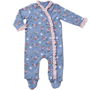Asher & Olivia Footed Pajamas for Girls Top Baby Hat Side Snap Sleepers - RUFFLE