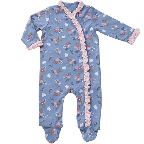Asher & Olivia Footed Pajamas for Girls Top Baby Hat Side Snap one pieces Sleepers - RUFFLE