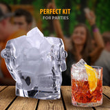 Skull Ice Bucket - Set of 2 Silicone Ice Cube Molds - Perfect Gift kit for Themed Parties, Halloween