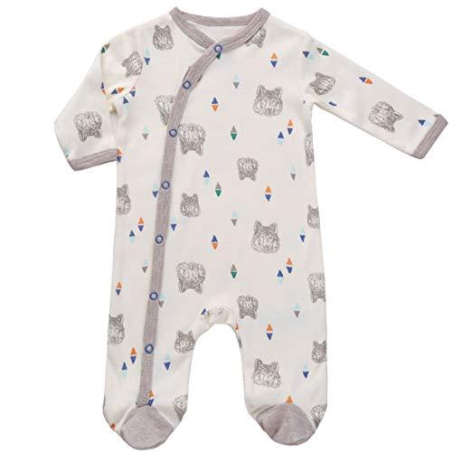 Asher & Olivia Footed Pajamas for Boys Baby Sleepers Side Snap one piece Footies - CREME