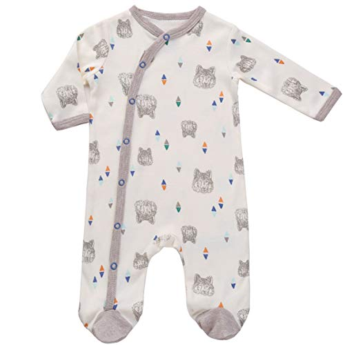 Asher & Olivia Footed Pajamas for Boys Baby Sleepers Side Snap Footies - CREME