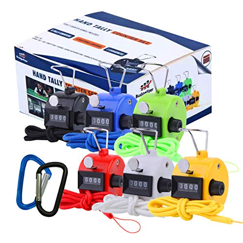 Hand Pitch Tally Counter Clicker –6 Pack Handheld People Lap Counter Clickers with 6 Lanyard and 2 Carabiners–Assorted Color Manual Mechanical 4 Digit Number Finger Ring for Umpire Baseball Click Golf