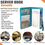 Server Book Waitress Wallet Organizer - TURQUOISE Bundle with WINE OPENER - BLACK 7 Pocket Waiter Pad for Restaurant Waitstaff - Fits Apron and Holds Receipts Money Guest Check Pen Credit Cards Daily Specials and Much More