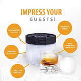 PREMIUM Ice Ball Molds, Round 2.5 Inch Ice Spheres. Stackable Slow Melting Round Ice Cube Maker for Whiskey and Bourbon (6, Black)