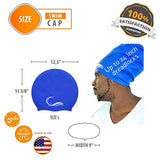 Long Hair Dreadlock Swim Cap – Silicone Swimming L Cap - Waterproof Blue Cap with Extra Pouch – Pool Caps Ideal for Women Men Youth Children.