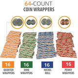 Coin Counter Sorter Money Tray – Bundled with 64 Coin Roll Wrappers Bundle – 6 Compartment Change Organizer and Holder with Secure Cover - Ideal for Bank, Business or Home Use