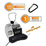 Hand Pitch Tally Counter Clicker– (1 Pack) METAL Handheld People Lap Counter Clickers with 1 Lanyard and 1 Carabiner – Manual Mechanical Silver Steel 4 Digit Number Finger Ring Click
