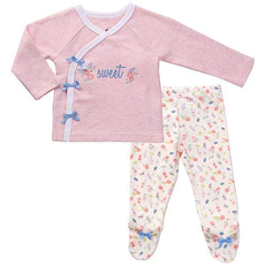 Asher & Olivia Footed Pants Long Sleeve Kimono Shirt 2 Pc Baby Girl Layette Set