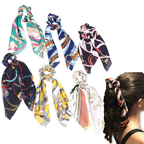 Elastic Hair Scrunchies Ponytail Holder – (6Pack) Unique Scarf Designs to match Different Outfits - Silk Hair Bands for Women (6 PACK - CHAINS)