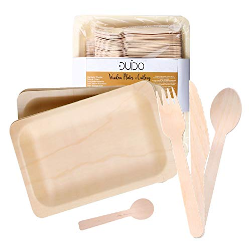 Disposable Wooden Cutlery Utensils Set – (Pack of 60) 12 10.5-inch Plates 12 Forks 12 Knives 12 Spoons 12 Small Spoons Eco-Friendly Silverware Compostable Flatware Biodegradable