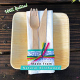 Disposable Wooden Cutlery Utensils Set – (Pack of 150) 30 10.5-inch Plates 30 Forks 30 Knives 30 Spoons 30 Small Spoons Eco-Friendly Silverware Compostable Flatware Biodegradable